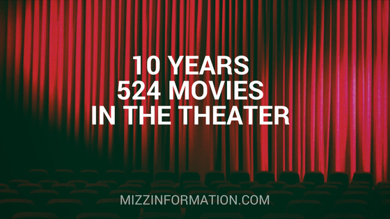 10 Years. 524 Movies. In the Theater.